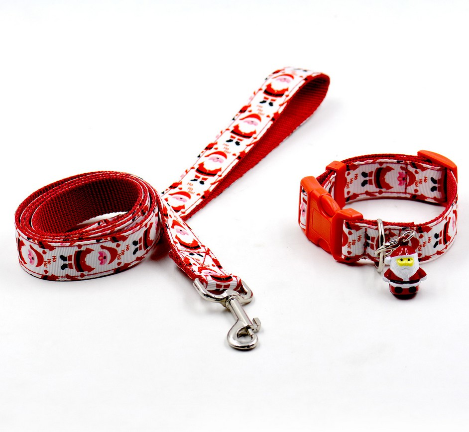 2016 New arrival red colorful Christmas Pet Collar Dog Collar Pet Bell Collar Pet leash  ...