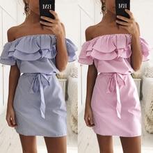 STAINLIZARD Fashion Casual Summer Women Dress Short Mini Striped Pattern Slash Neck Beach Sexy Dress Boho Cute Dress LD198