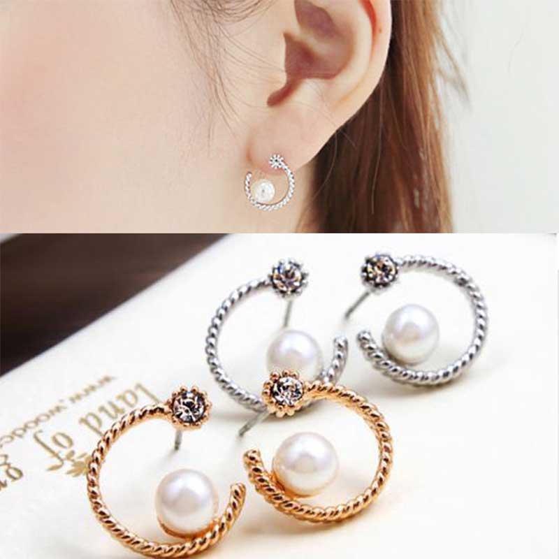 Beautiful Plan Half Moon Shaped Pearl Earrings For Women Whole