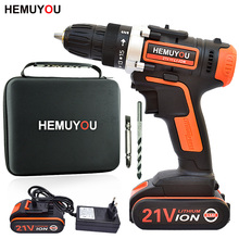 цена на 21V electric screwdriver cordless drill impact drill mini drill lithium ion battery 2 speed + smart battery display