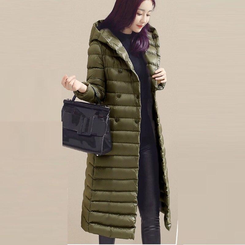 Autumn Winter Female   Down   Outwears Women Slim Light Thin   Down   Jackets Long Casual Hooded 90% White Duck   Down     Coats   RE2044