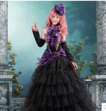 Envío gratis Anime Vocaloid cosplay vestido negro púrpura Loro Rita traje de sirvienta disfraces de Halloween para para para el partido / navidad