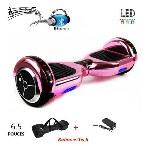 No Tax Chrome Hoverboard 6.5 Inch Self Balance Scooter Bluetooth Electric Scooters LED Light 2 Wheels Skateboard with Carry Bag