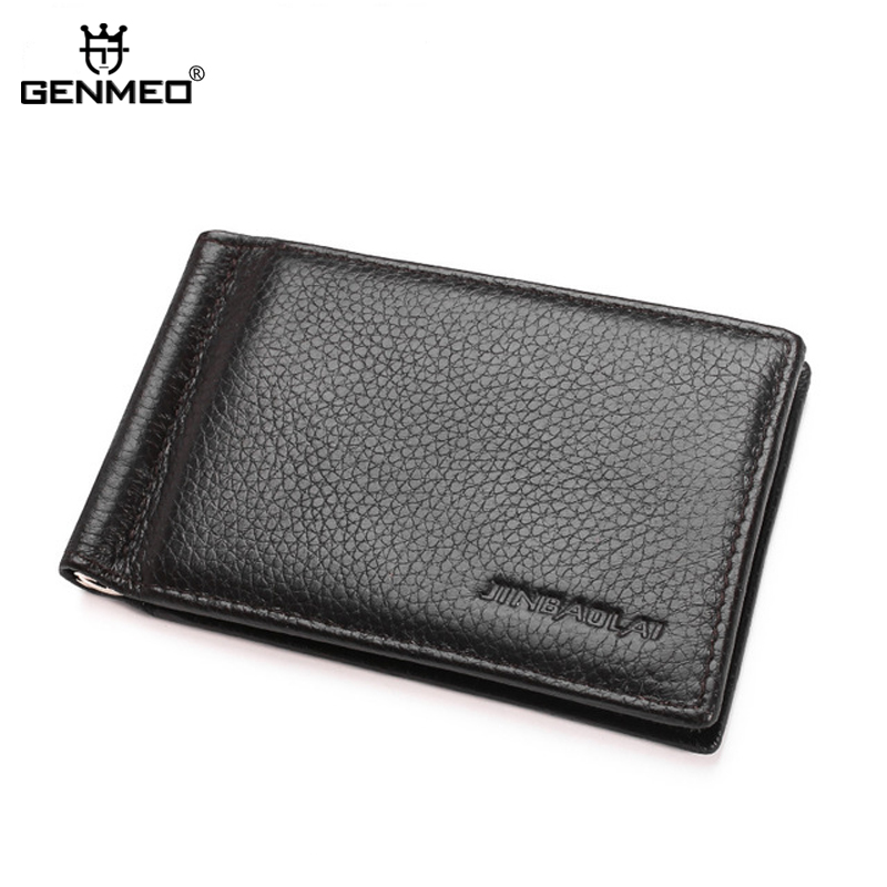 GENMEO New Arrival Genuine Leather Clutch Bag for Money and Card Men Bifold Cow Leather Wallet for Dollars Coin Purse Bolsa in Wallets from Luggage Bags