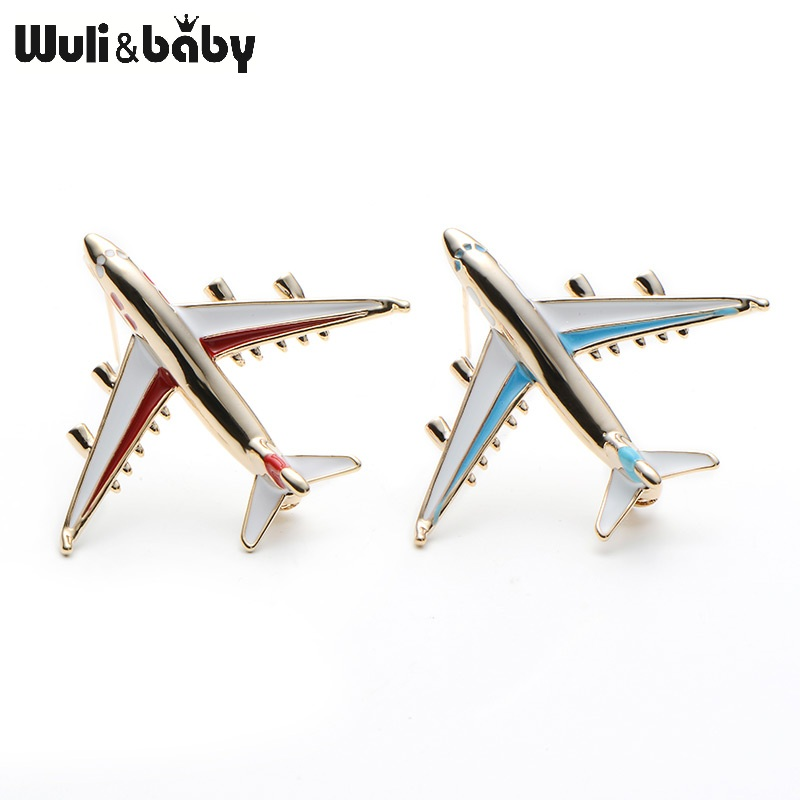 Alloy Airplane Brooch Pin Enamel Red Blue Plane Luxury Brand Brooches - Perhiasan fesyen - Foto 5