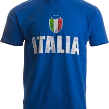 a6e3d1ef ITALIA Italy Azzurri Futbol (Italian National Soccer) Vintage-Look T-shirt(
