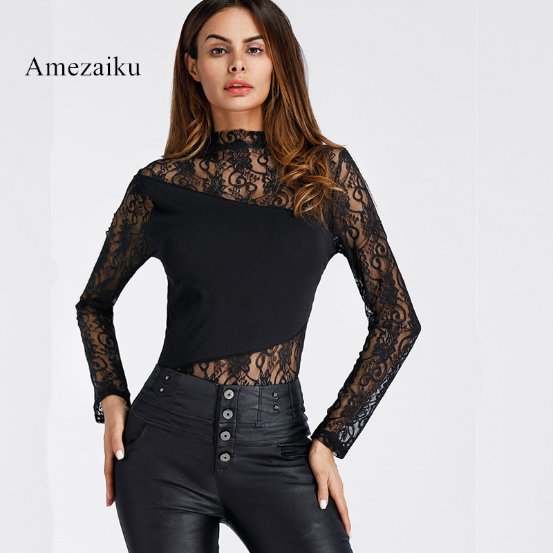 2017 Autumn High Neck Sheer Mesh patchwork Bodysuit Women all matching Lace Body Jumpsuit Long Sleeve Bodycon Romper Overalls