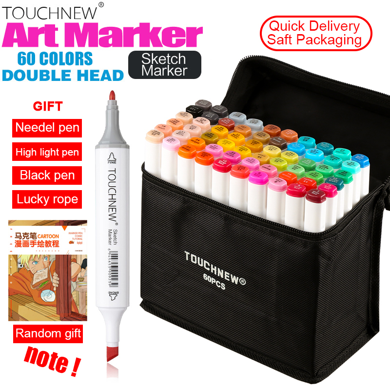 TOUCHNEW Art Markers 60 30 40 80 Color Artist Dual Headed Marker Set Manga Design School