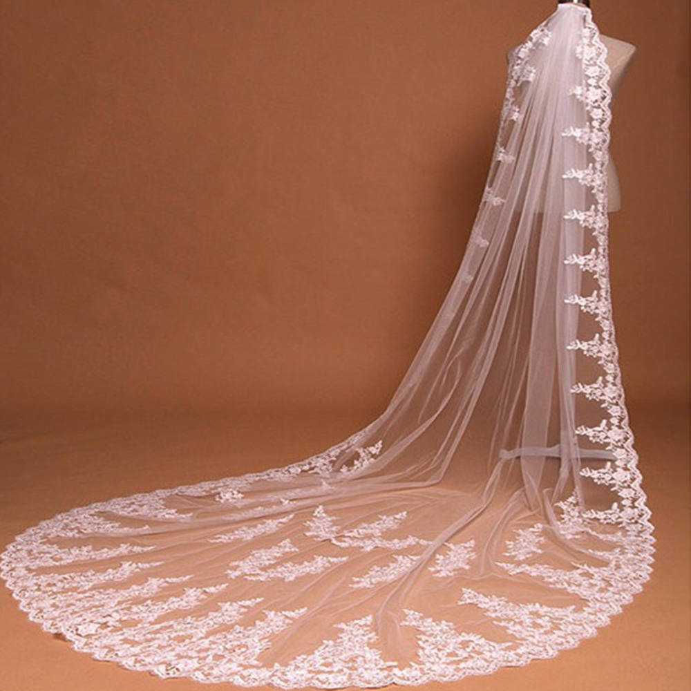 Luxurious One Layer Cathedral Wedding Veil With Comb Lace Edge Bridal Voile Marriage White Ivory Wedding Accessories Applique