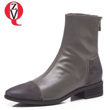 12b24ddc4e0 ZVQ 2018 new fashion winter warm genuine leather women shoes low square  heel round toe zip black and grey ankle boots size 33-43
