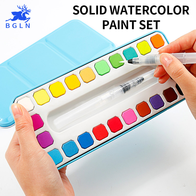BGLN 24 colores pintura de acuarela sólida conjunto de lata de pigmento de acuarela transparente de alta calidad para estudiantes de escuela de artista Acuarelas