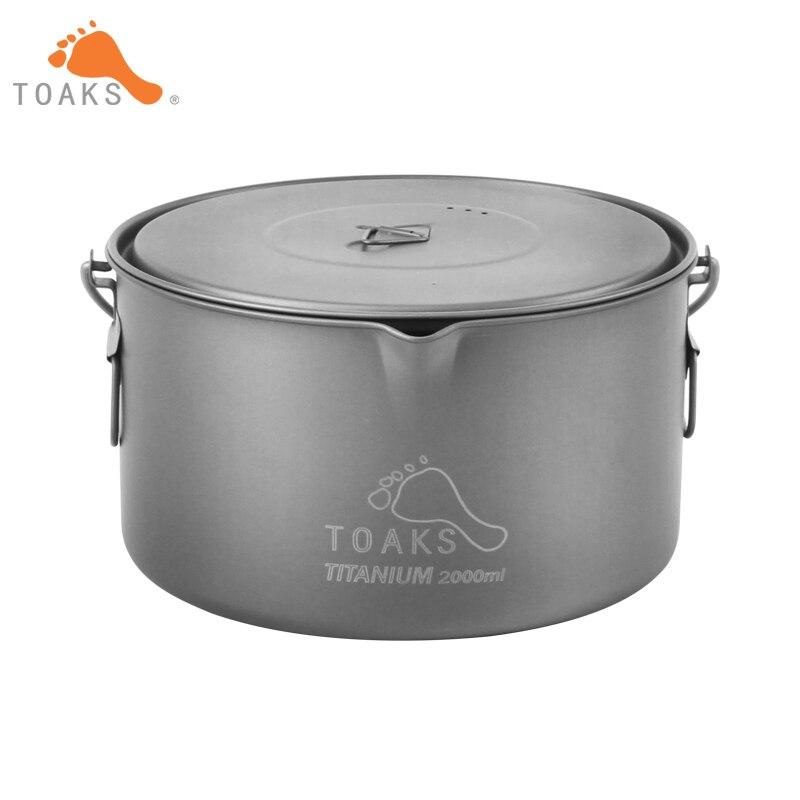 TOAKS 2000ml Cookware Haning Pot Ultralight Titanium Pot With Hanging Handle Outdoor Camping