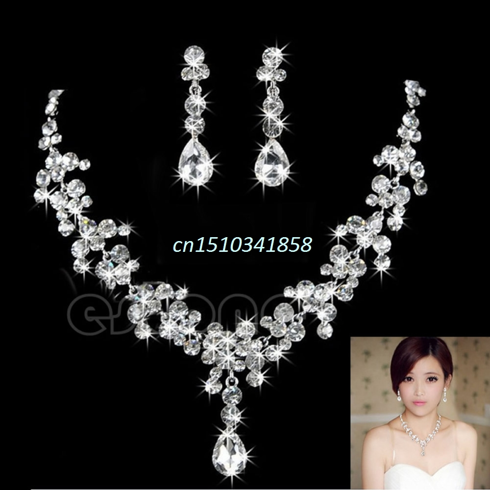 New Rhinestone Crystal Waterdrop Necklace Earring font b Jewelry b font Set For Wedding Bridal Accessory