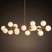 2018LED chandelier post modern minimalist creative restaurant magic bean living room glass ring sphere molecular chandelier