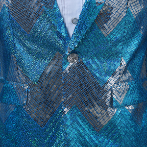 Image 4 - PYJTRL New Men Gradual Blue Green Sequins Shiny Party DJ Singer Stage Show Suit Jacket Wedding Prom Performance Blazer Design