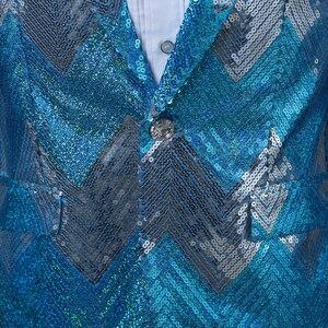 Image 4 - Pyjtrl novos homens gradual azul verde lantejoulas brilhante festa dj cantor palco mostrar terno jaqueta de casamento formatura desempenho blazer design