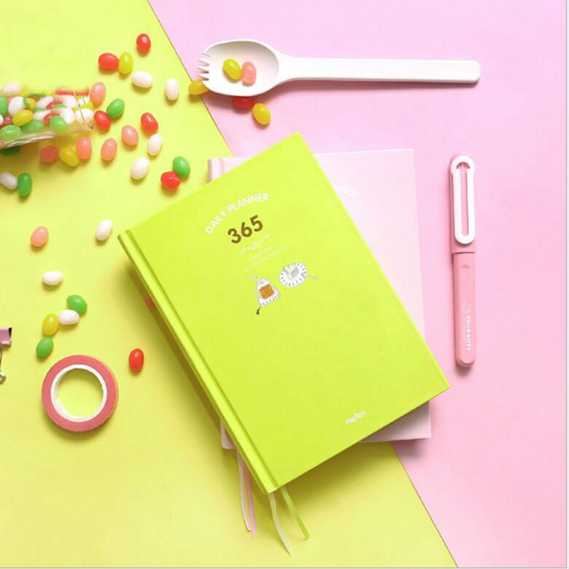 2018 Korean 365 Travelers Notebook Planner Cute Daily Weekly Monthly Yearly  Plan Agenda Schedule Day Journal Diary Notebook A5 girly notebook stationery suit clips pens daily plan agenda sticky notes great value planner organizer set cute journals series