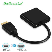 Shuliancable adaptador de HDMI a VGA macho a famoso convertidor adaptador 1080P Digital a Audio de vídeo analógico para HDTV XBOX PS3 TV Box(China)