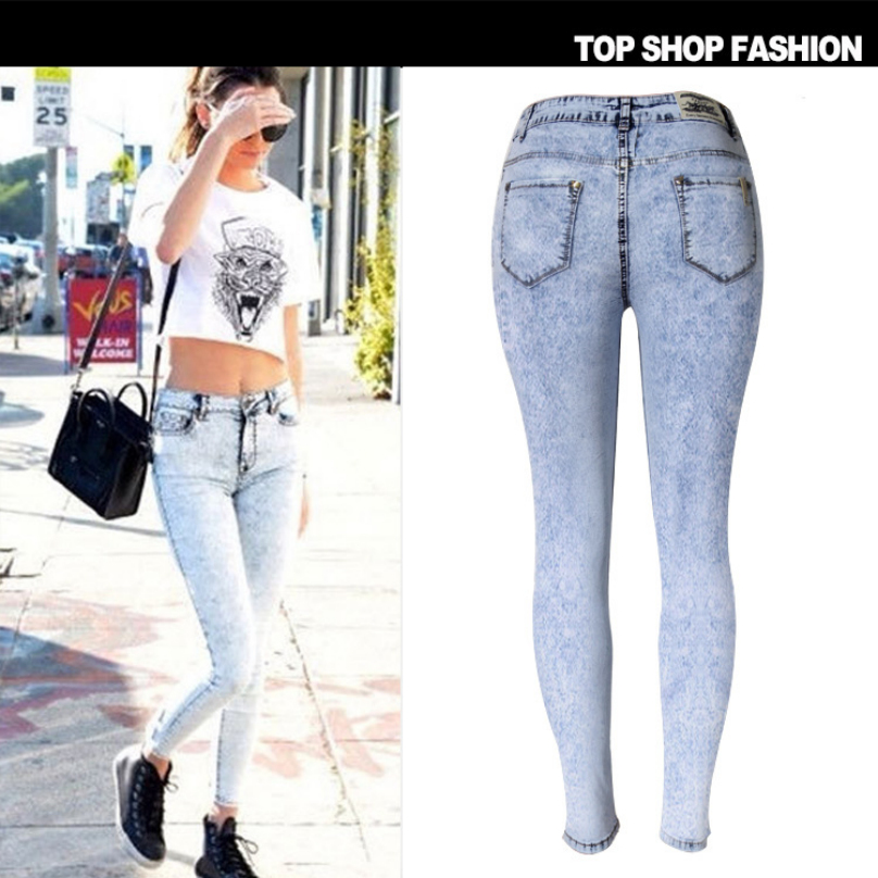 Liva Girl Fashion Women Jeans Pencil Pants With Skinny Snowflake Jeans Woman Stretch Elastic High Waist