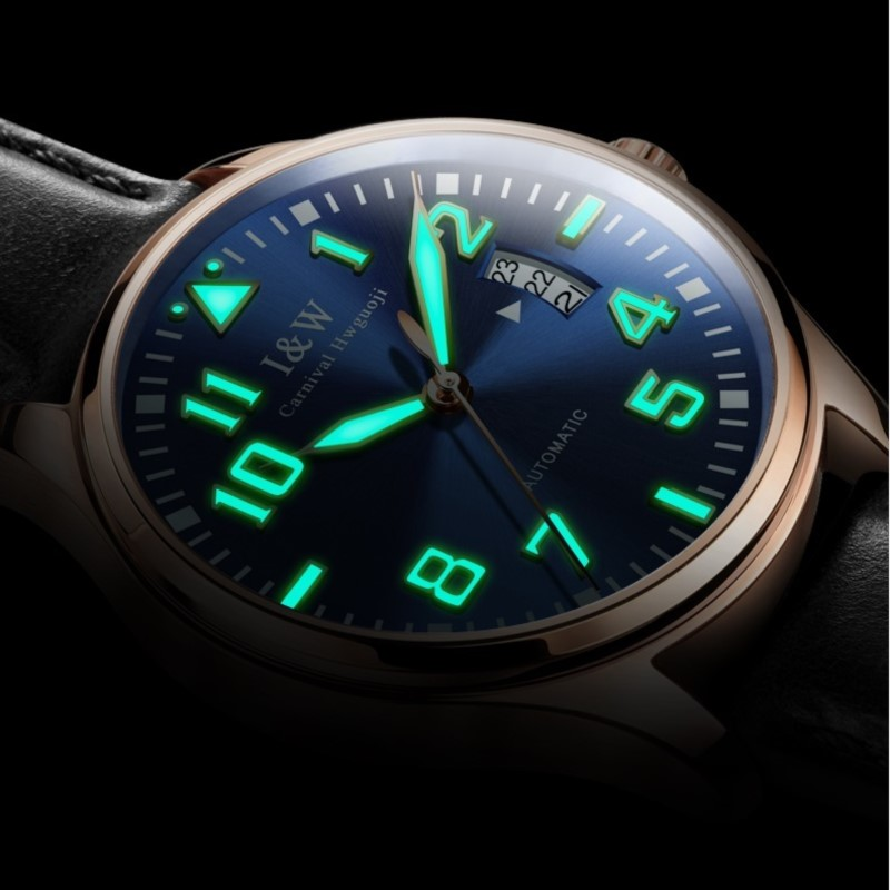 High end Mechanical watches top brand CARNIVAL Fashion Luminous Automatic Watch with Leather band,Calendar,waterproof Watch men