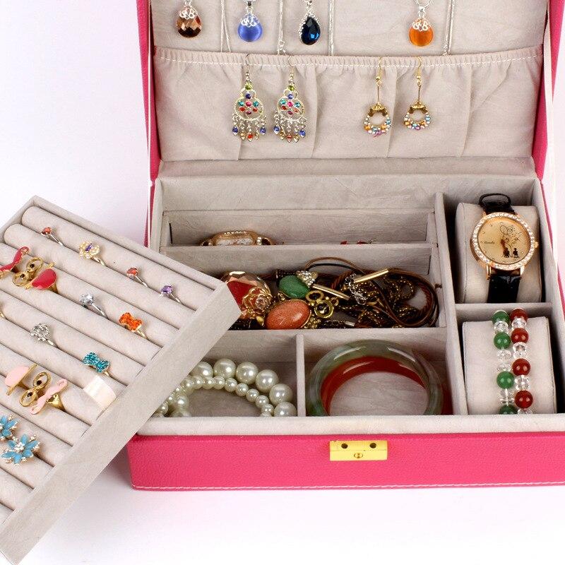 Guanya de doble capa de gran capacidad de regalo caja de joyería accesorios de terciopelo adornos de exhibición organizador de almacenamiento cajas de transporte - 2