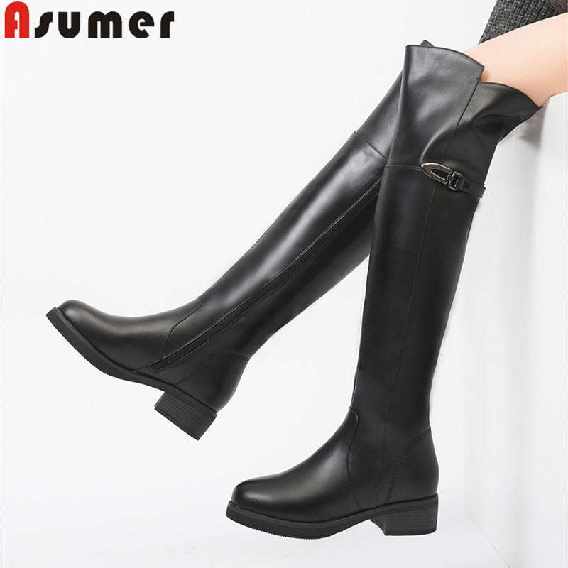 ASUMER 2018 fashion over the knee boots round toe zip pu+cow leather boots med heels ladies wool inside winter snow boots