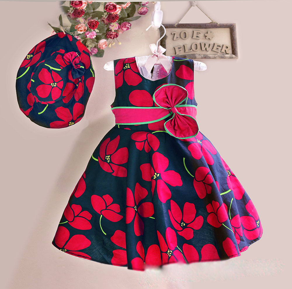 New Summer Baby Girls Floral Dress with cap European Style Designer Bow Children Dresses Kids Clothes 3-8Y pink floral towels
