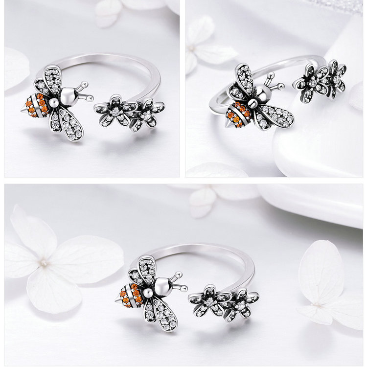 HTB1YtFgKeGSBuNjSspbq6AiipXaD BAMOER 100% 925 Sterling Silver Trendy Bee & Daisy Flower Finger Rings for Women Adjustable Size Valentine Gift Jewelry SCR422