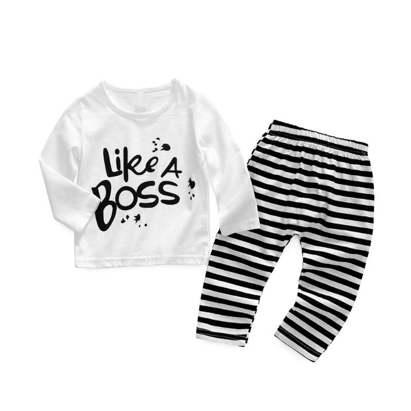 2018 Spring Autumn Baby Clothing Set for Boys Fashion Long Sleeve Letters T-shirt+Stripe Pants Toddler Outfits Boys Sports Suits