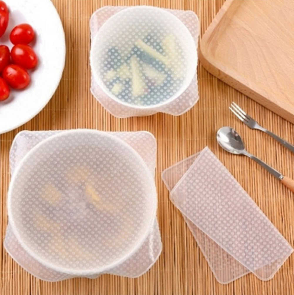 4 Pcs / pack Silicone Wraps Kitchen Seal Cover Transparent Magic Wrap Storage Food Fresh Keeping Kitchen Tool Wholesale