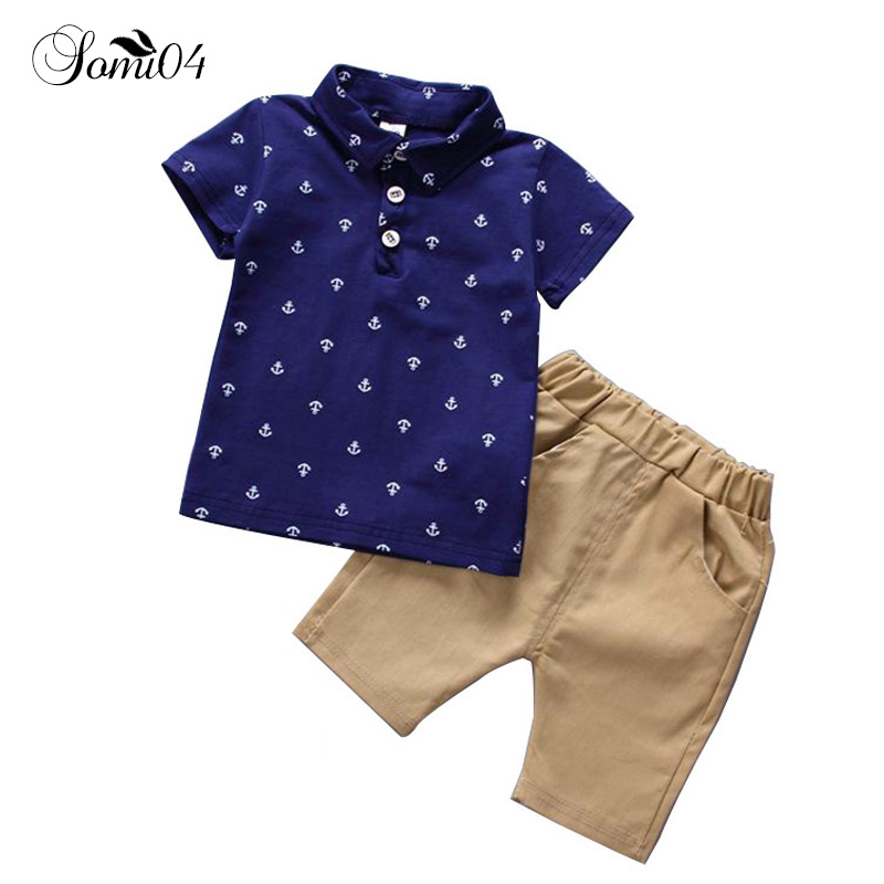 Boys Set 2018 New Summer Kids Clothes Polo Shirt + Pants 2 Pcs Suits Boy Children Clothing Ancla Print Costumes For Kids Outfits
