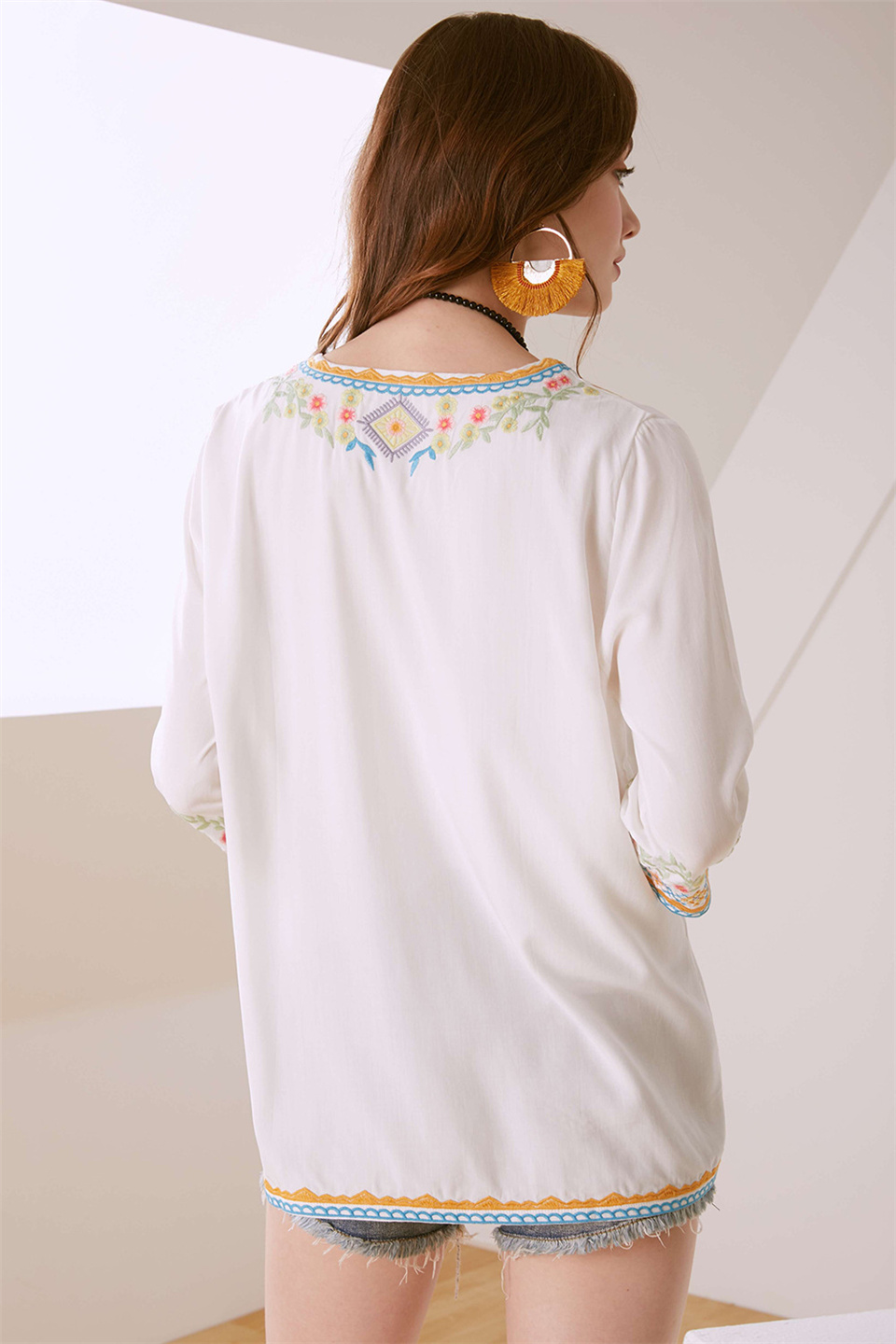 Women's Blouse Long Embroidery 9
