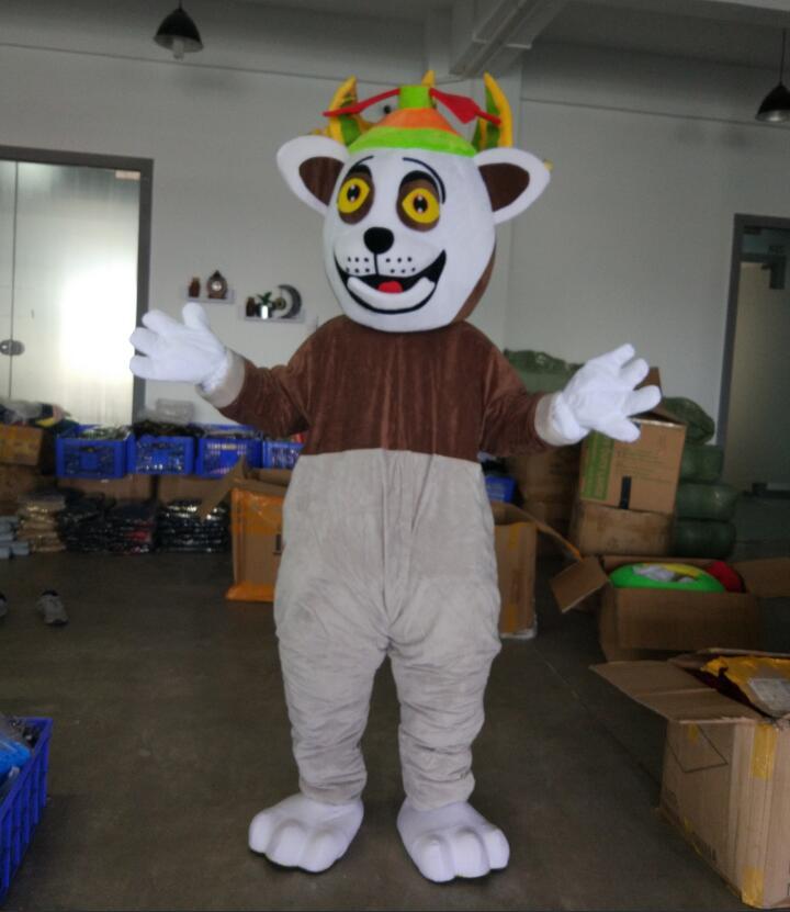 Ohlees Madagascar roi Julian lémurien lémurien lémurien Costume Mascotte personnage de dessin animé Mascotte