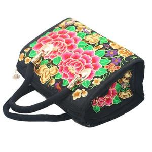 Image 5 - Bolsa feminina de lona, bolsa de ombro bordada floral étnica vintage de mensageiro