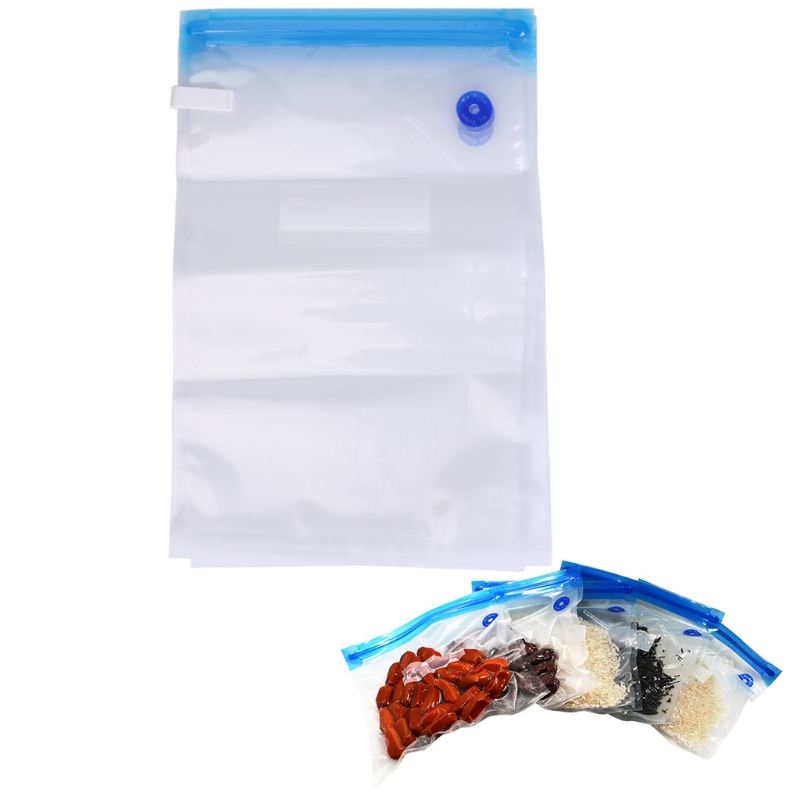 5pcs Durable Food Saver Fresh Keeping Vacuum Bags Zipper Bag Home Kitchen Travel