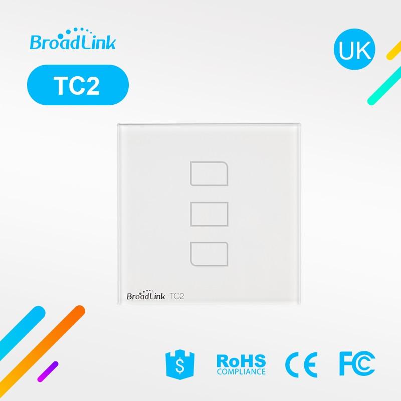 Broadlink TC2 Smart WiFi Wall Switch Switch APP APP Touch Control Wall Light Switch 3 Gang 86 Type UK Panel Wall Smart Home