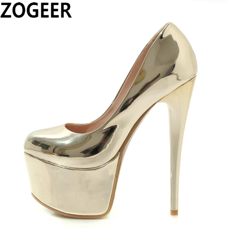 Plus Size 48 Sexy Woman Pumps 16cm Extreme High Heels Designer Fetish Shoes Platform Patent Leather
