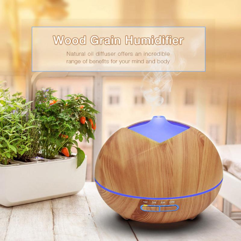 300ml Wood Grain Essential Oil Diffuser Ultrasonic Aromatherapy Cool Mist Air Humidifier for Office Home with LED Light Lamp