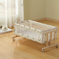 Baby multifunction cradle baby shaker with roller mosquito nets green wood without paint