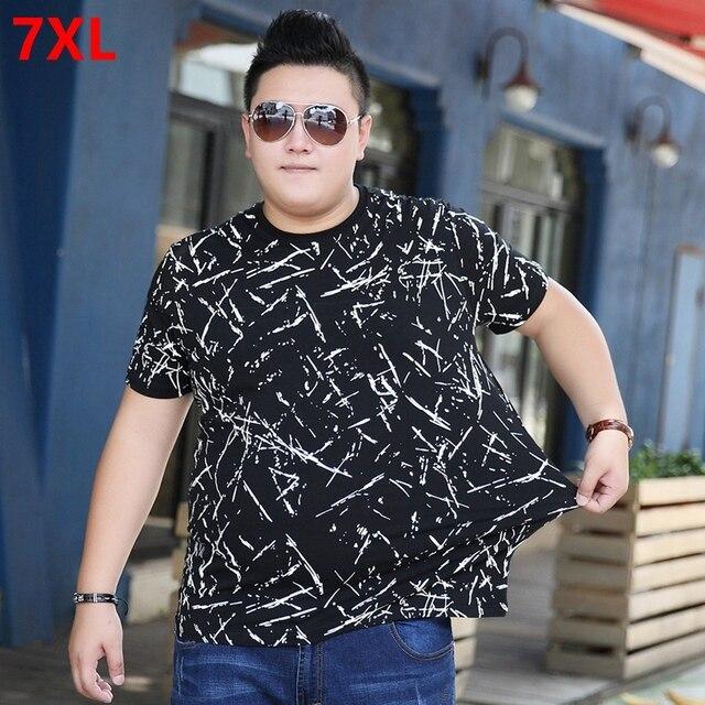 Verão em torno do pescoço de algodão tamanho grande camuflagem t-shirt dos homens plus size-manga curta camisas soltas floral 7XL