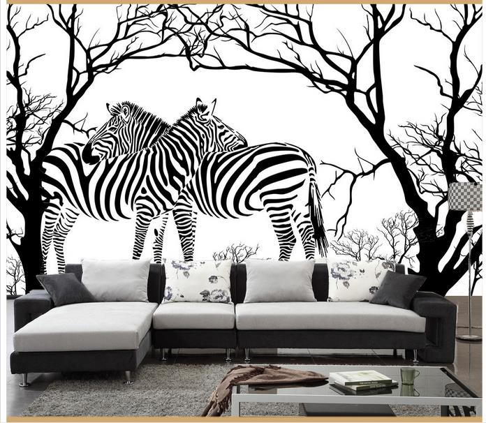 US $9.99 55% OFF|Customized 3d wallpaper 3d wall murals wallpaper Black and  white tree zebra sitting room sofa background wall reliefs home decor-in ...