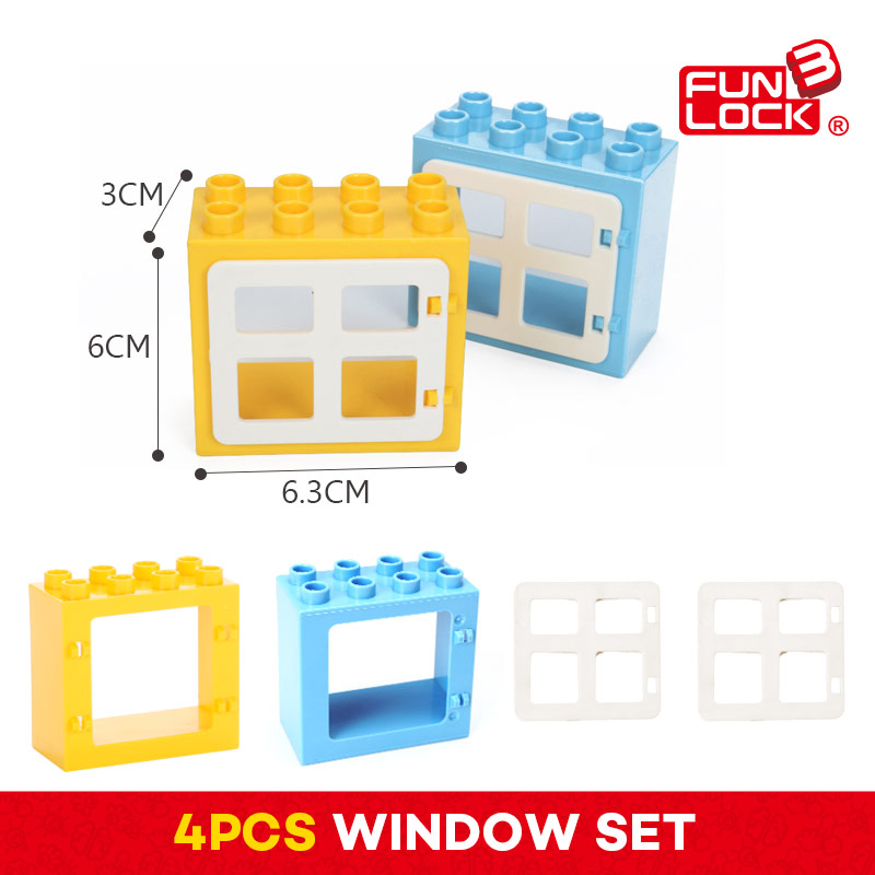 Funlock Duplo 4pcs Window Set font b Toys b font Blocks Model Building Creative Educational Gift