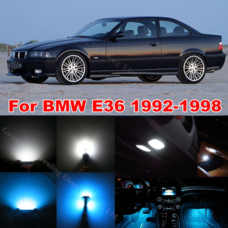 WLJH  White Ice Blue Canbus Error Free Car Interior Lighting Trunk Mirror LED Light Kit for BMW E36 328i 325i 1992-1998 15pcs l pack 380 led light mirror pick dental oral care kit light blue