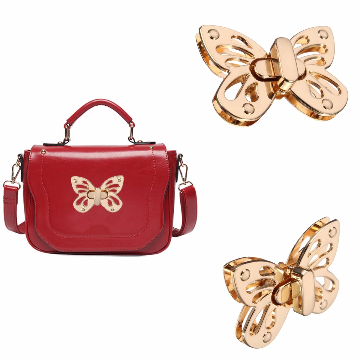 Osmond Fashion Women Butterfly Tone Handbag Bag Accessories Purse Twist Turn Lock Snap Clasps/ Closure for Bag DIY Buckle chic round lens hipsters street snap fashion black butterfly sunglasses for women