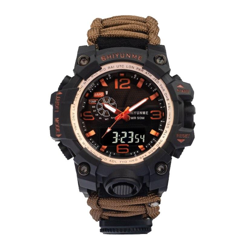 SHIYUNME Sports Waterproof Military Watch Men's Watch Double Display Compass Chronograph Quartz Men's Watch Relogio Masculino
