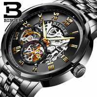 Swizerland BINGER Brand Men self-wind Automatic Mechanical Watches Fashion Double Skeleton Male Steel Luminous Waterproof Watch