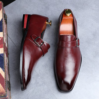 Mens Leather Shoes Pointed Toe Oxford Shoes For Men Dress Business Slip On Wedding Leather Male Brogues Buckle Shoes