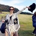 2016 Winter Women's European and American national wind big yards loose sweater coat tassel ear ear irregular shawl cardigan