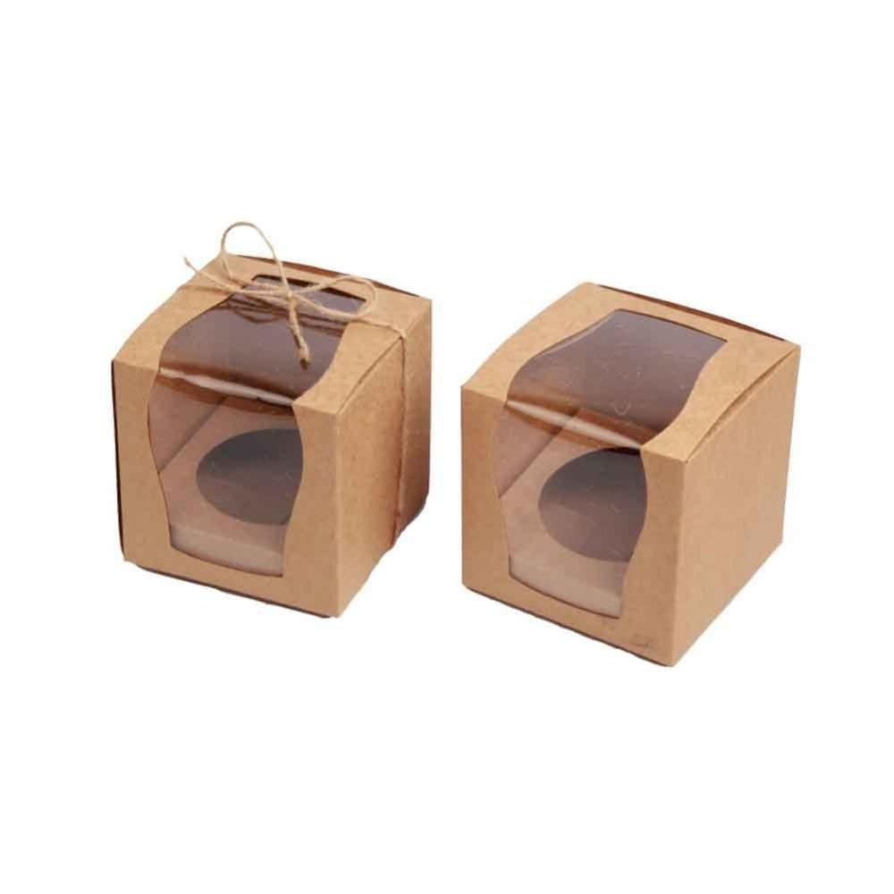 NUEVO DISEÑO Único 9x9x9cm Cupcake Boxes Caja de regalo de boda Caja del favor con inserto 12pcs