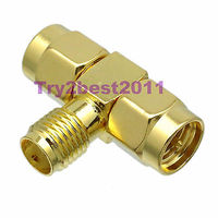 1pce Adapter Connector SMA JACK Pin To 2x SMA PLUG Pin T Splitter COAXIAL